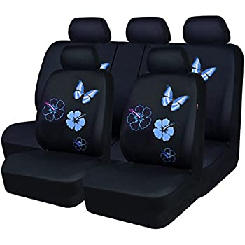 NEW ARRIVAL CAR PASS Flower And Butterfly Universal Car Seat CoversPerfect Fit SuvssedansVehiclesAirbag Compatible 11PCS Black Mint Blue