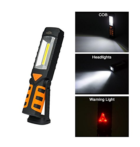 Cafini Rechargeable Flashlight,Pivoting Flashlight with Magnetic Base, Swing Stand, Adjustable Rotating Hanging Hook, COB LED Work Light for Camping Household Workshop Automobile