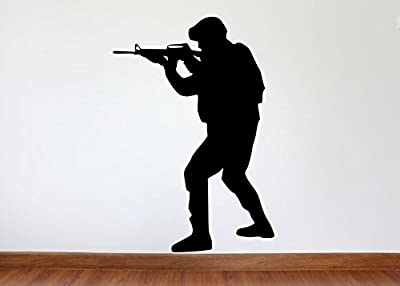 Soldier Wall Decal - Soldier Military Silhouette Vinyl Decal - Soldier 1