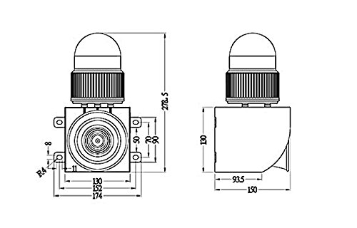 YS-01G Industrial Harbor pier waterproof sound and light alarm AC110V-AC120V