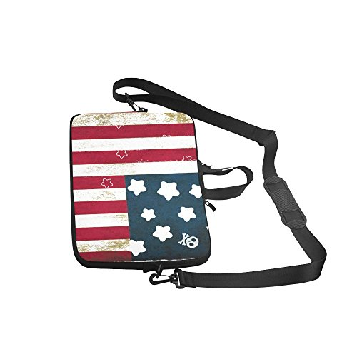 Vintage Distressed American Flag Stars Stripes Ind 100% Water Resistant Neoprene Laptop Sleeve Case Cover for 15