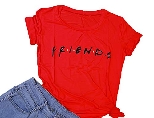 Friends Red T-shirt - Hioinieiy Women's Friends T Shirt Summer Casual Short Sleeve Graphic Tees Tops Red L