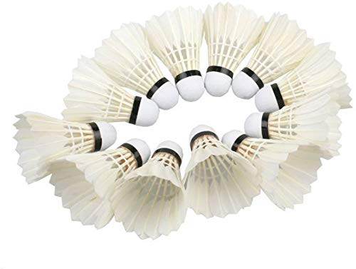Craftnation Badminton Shuttlecock Pack of 10 Feather Shuttle Cock  White