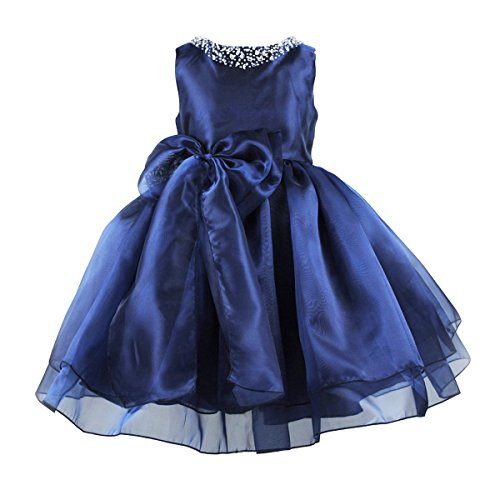 Flower Girls Dress Satin Organza Wedding Party Ball Gown Bowknot Tulle Dresses  Navy Blue  10