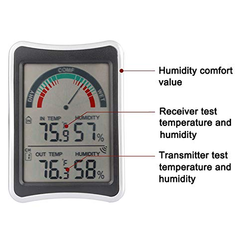 Majome Term/ómetro inal/ámbrico Medidor de Humedad para la Temperatura del Clima para Interiores y Exteriores