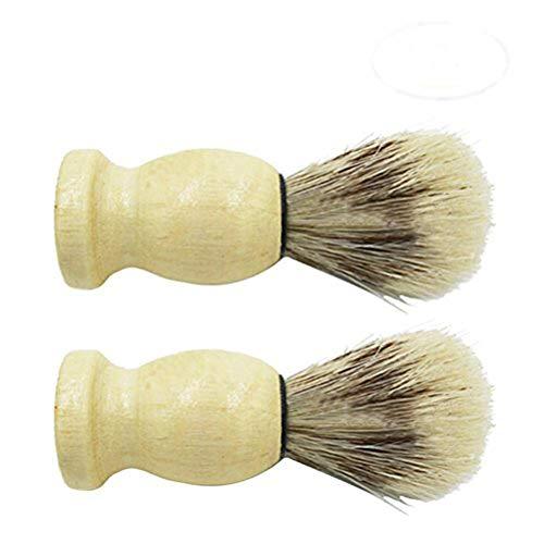 CoscosX 2pcs Pig Mane Shaving Brush Stand Wood