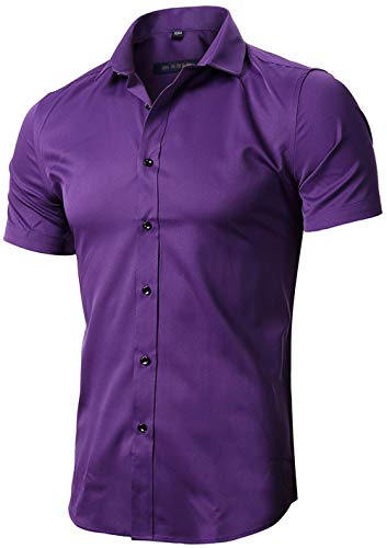 FLY HAWK Mens Tailored Short Sleeve Button Down Shirt with Stretch,Dark Purple, US S