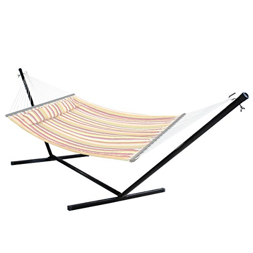 SUPER DEAL Black Solid 15' Hammock Stand Steel Beam Construction Outdoor Yard Patio, 400lbs Capacity