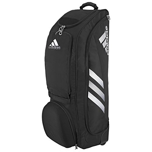 adidas Utility Wheeled Bat Bag, One Size, Black/Silver