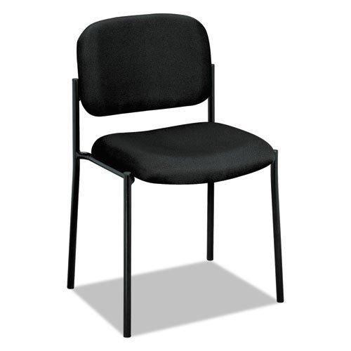 Basyx VL606VA10 VL606 Series Stacking Armless Guest Chair, Black Fabric (Renewed)