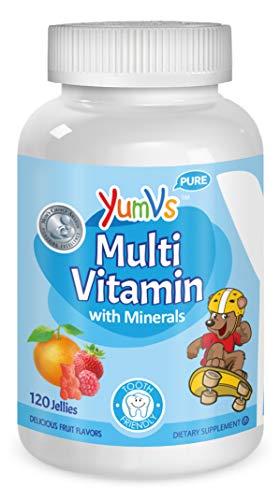 YUM-V's MultiVitamin Chewable Kids Jellies (Gummies), Fruit Flavor (120 Ct); Dietary Supplement w/Vitamins & Minerals – Vitamin D 600 IU, Vitamins B12, B6, E, C, A, Zinc, Kosher, Halal, Gluten Free