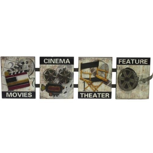 Entrada EN12138 Four Assorted Movies Themed Metal Wall Decors, 12'' x 41.5'' x 1.5'', Grey