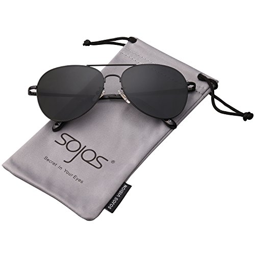 SojoS Classic Aviator Mirrored Flat Lens Sunglasses Metal Frame with Spring Hinges SJ1030 With Black Frame/Grey Lens