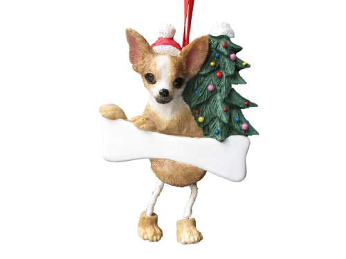 Chihuahua Tan & White Ornament with Unique ''Dangling Legs'' Hand Painted and Easily Personalized Christmas Ornament by E&S Pets