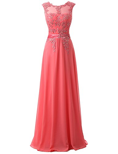 Belle House Sheer Neck Appliques Bridesmaid Evening Gowns Long Beaded Prom - Applique House