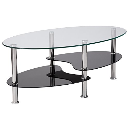 Flash Furniture Hampden Glass Coffee Table with Black Glass Shelves and Stainless Steel Legs - HG-600920-GG