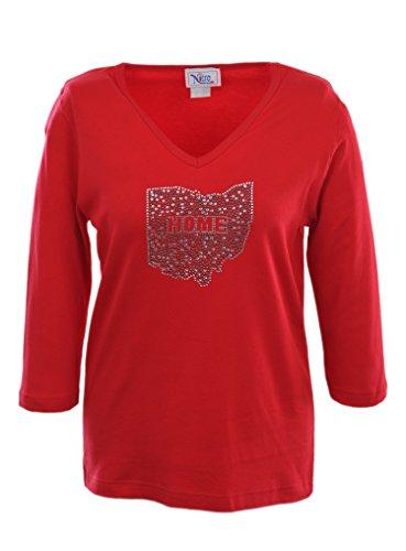 Nitro USA NCAA Ohio State Buckeyes Women's V-Neck 3/4 Sleeve Top with Bling State Home, Medium, ()
