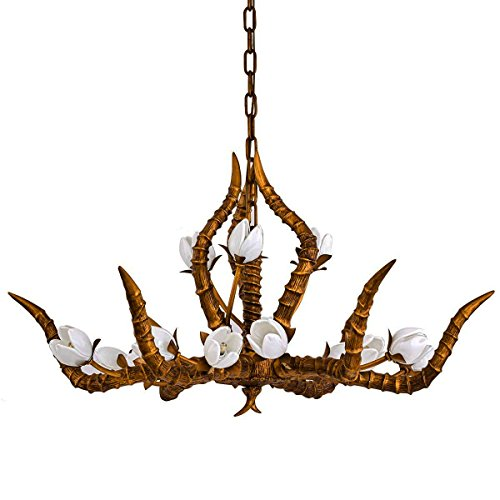 Antique Chandeliers for Living Room Antelope Horn Chandelier Bronze Pendant Lighting Fixtures 15 Lights(G4) for Dining Room,Bedroom,Restaurant,Cafe,Hotel,Club etc.(From QIRUI-8788) For Sale