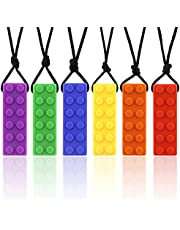 Chew necklaces for sensory kids,Pendant Chewable Jewelry Set for Boys and Girls(6 Pack),Silicone chewlery Oral Motor Sticks for Kids with ADHD, Anxiety,Teething, Autism, Biting Needs