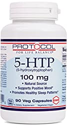 Protocol For Life Balance - 5-HTP (5-hydroxytryptophan) 100 mg - Supports Positive Mood and Promotes Healthy Sleep Patterns - 90 Vcaps