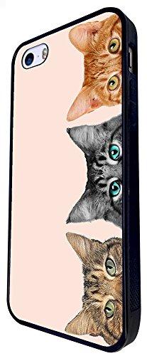 1268 - Cool Fun Trendy Cute Kitten Playful Hidden Cats Feline Pets Design iphone SE - 2016 Coque Fashion Trend Case Coque Protection Cover plastique et métal - Noir