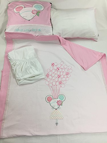 100% Cotton Jersey 4-Piece Baby Crib Bedding, Quilt Set-DOLLY PINK