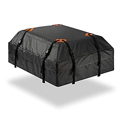 Durable Roof Top Waterproof Cargo Bag - Zone Tech Classic Black 15 Cubic Feet Premium Quality Universal Waterproof Fold-able Leak Proof Traveling Roof Top Car Bag: Automotive