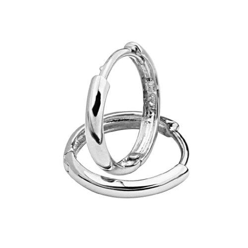 14k White Gold 2mm Thickness Hoop Huggie Earrings (13 x 13 mm) -