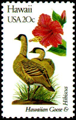USA 1982 20-Cent Hawaii State Bird and Flower Postage Stamp, Catalog No 1963
