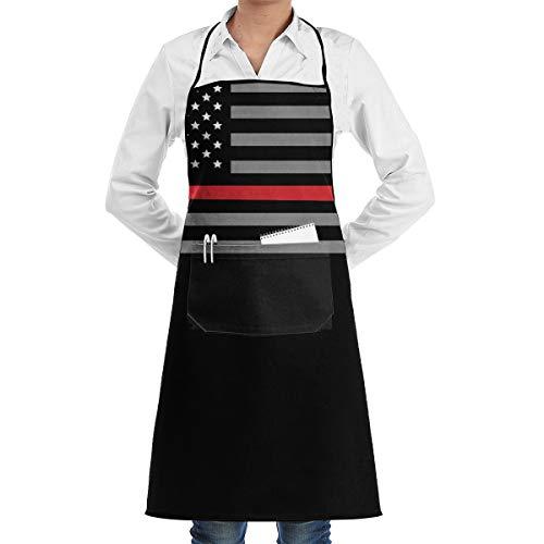 Uyikuvt Apron Thin Red Line Flag Axe Bib with 2 Pockets for Women,Men,Chef,Kitchen,Home,Restaurant,Cafe,Bar,Baking,Gardening ()