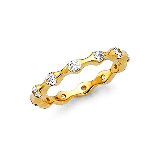 (Wellingsale 14k Yellow Gold CZ Cubic Zirconia Tension Set Eternity Wedding Ring Band)
