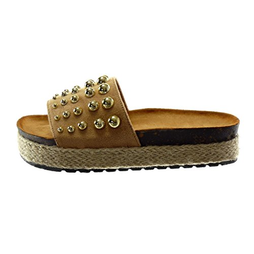 Pearl Women's Studded Wedge 4 Slip Fashion cm Platform Mules Camel on Platform Sandals Cord Shoes Angkorly 8UgqTdn44