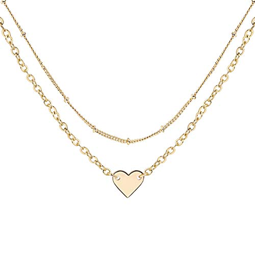 - MT1WM Gold Heart Choker Necklace Set - Simple Delicate Dipped Satellite Beaded Curb Ball Chain Gold Choker Layering Womens Girls, Bar Choker Necklaces …