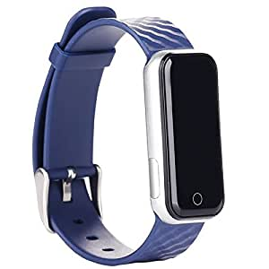Ocamo QS50 Bluetooth Smart Watch, Sports Watch Bracelet, Sleep Monitor Pedometer Smart Fitness Tracker Wristband for Android smartphones and iPhone Blue