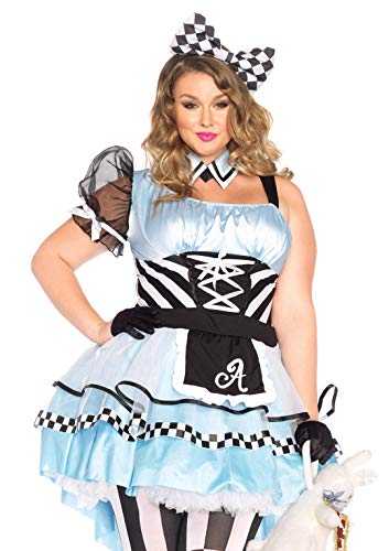 Halloween Express Plus Size Costumes (Leg Avenue Plus Size Women's Psychedelic Alice in Wonderland Costume, Blue/black, 3X/)