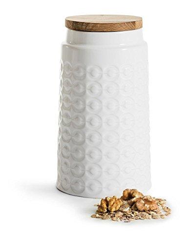 Sagaform 5017745 Stoneware Storage Jar with Oak Lid, Large, White