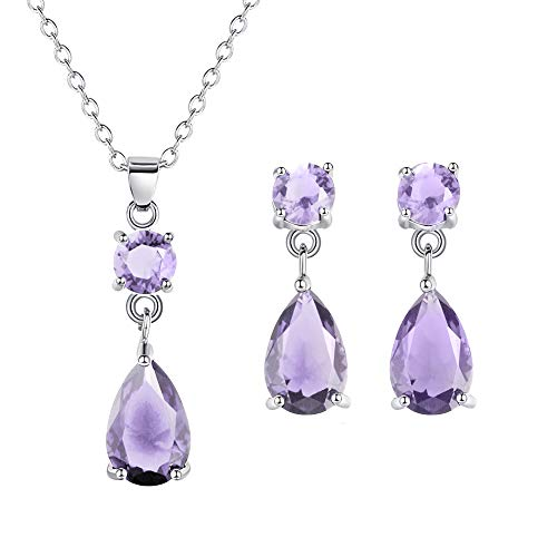 bromrefulgenc Jewelry Set for Women,Fashion Round Drop Zircon Pendant Eardrop Earrings Necklace Women Jewelry Set - Purple