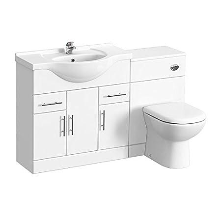 Attirant Alaska 1320mm Vanity Unit Bathroom Suite High Gloss White Depth 330