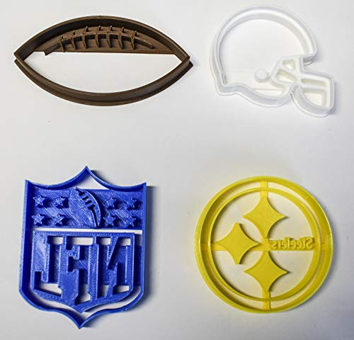 PITTSBURGH STEELERS NFL FOOTBALL LOGO HELMET SET OF 4 SPECIAL OCCASION COOKIE CUTTERS BAKING TOOL 3D PRINTED MADE IN USA PR1091