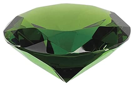Crystal Emerald Green Colored Faceted Diamond Shaped Paperweight Top Maybe Engraved Apx. 4 Diameter Promo Products Direct 3413142