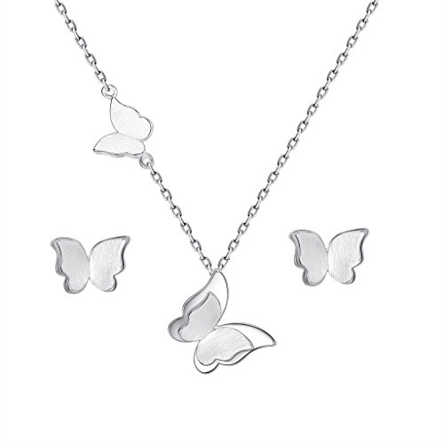 (EVER FAITH Women's 925 Sterling Silver Butterfly Animal Adjustable Pendant Necklace Stud Earrings Set)