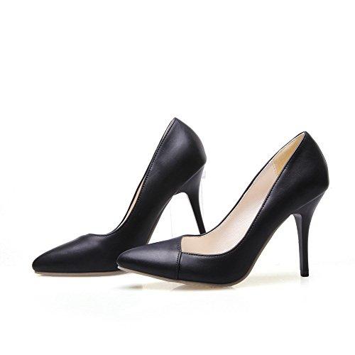 VogueZone009 Zehe Schuhe Schwarz Stilettos Spitzen Frauen Materialien Pull Flats Mischung Spikes On Geschlossene rwrqzAT1