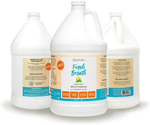 Oxyfresh Lemon Mint Mouthwash - Oxygene & Zinc – 1 Gallon 128 oz. Alcohol Free Solution for Fresh Breath & Dry Mouth Prevention Dye-Free, Gluten Free, Naturally Flavored with Essential Oils