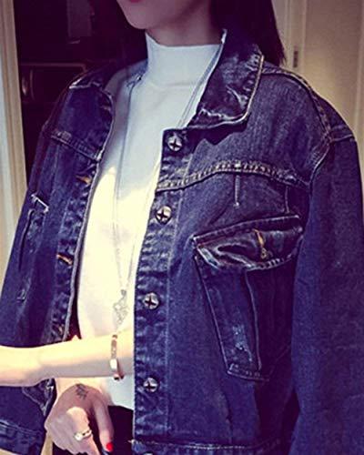 Bavero Blau Jeans Hell Jacket Casual Fidanzato Fashion Lunghe Primaverile Outerwear Maniche Ragazze Donna Denim Autunno Coat Corto Giacca Cappotto Giacche Blu zdwHqHR