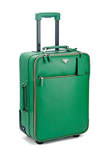 (Prada Saffiano Leather Rolling Carry On Luggage Bag in Kelly Green & Wardrobe Bag)