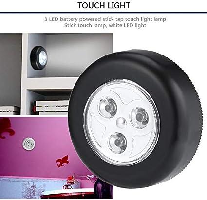 Argent Aucun c/âblage requis Lampe de nuit /à commande au toucher Real Touch 3 LEDs Sans fil Stick Tap Armoire Lampe tactile /à piles