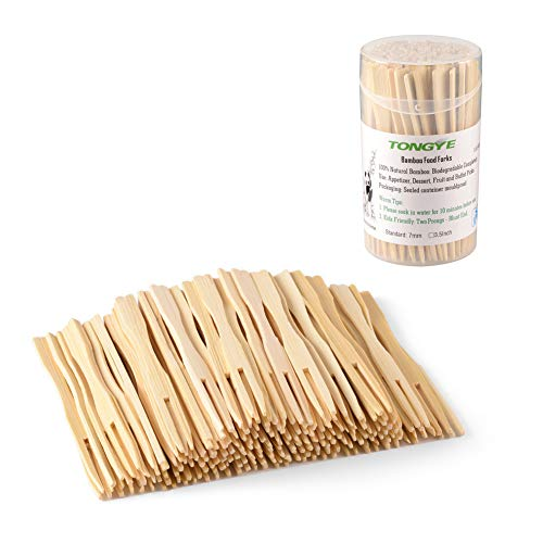 TONGYE Bamboo Forks 3.5 Inch, Mini Food Picks Party, Banquet, Buffet, Catering Daily Life. Two Prongs - Blunt End Toothpicks Appetizer, Cocktail, Fruit, Pastry, Dessert. (110 PCS) - Salad Diamond Fork