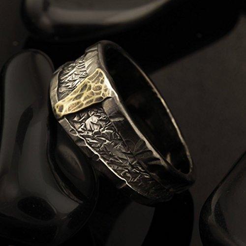 Alianza de boda celta, anillo Mans, anillo único para hombre, anillo de bodas de plata, plata y oro 14K, anillo de bodas,...
