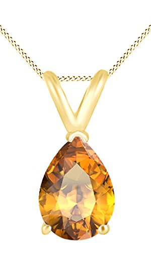 AFFY Women's Classic Simulated Citrine Pear Shape Pendant Necklace in 10k solid Yellow Gold (3.5 (Pear Citrine Pendant)