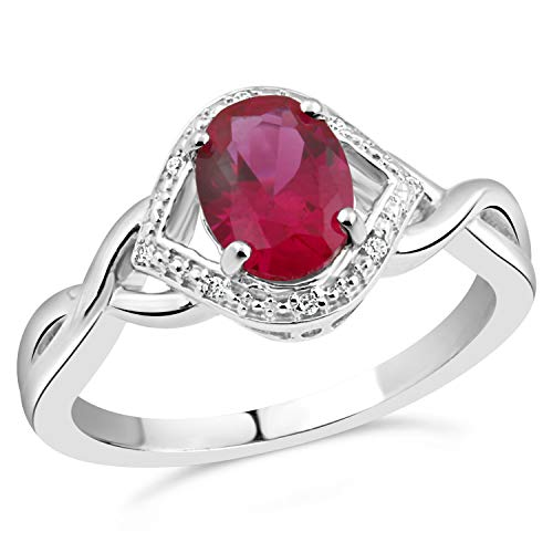 Sterling Silver Lab Created Ruby Ring with Diamond Accents - Ring Size 7